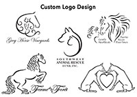 custom logo designs by Kelli Swan - specializing in horse logos and dog logos